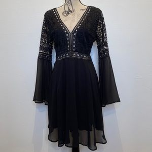 Black crochet v neck bell sleeve dress XL